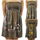 Womens Plus Size Khaki Floral Butterfly Printed Boob Tube Stretch Sheering Tops