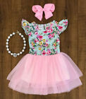 US Newborn Baby Girls Tutu Lace Floral Dress Infant Toddler Skirt Party Clothes