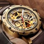 Skeleton Men's Steampunk Automatic Mechanical Transparent Antique Leather Watch image