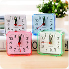 Alarm Clock Square Color Battery Silent Home Desk Table Analog Clock Snooze