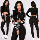 2Pcs Women Sexy Hoodies Tracksuit Suit Set Sport Sweatshirt Crop Tops Fashion