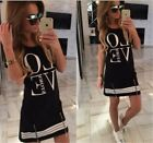 "US Womens ""LOVE"" Printed Shirt Dress Casual Pencil Dress Long Tops Shirts S-5XL"