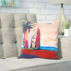 Markus Bleichner Skiles Surf Board Fence Wall at the Seaside Throw Pillow