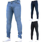 Mens Stretch Elastic Washed Denim Jeans Slim Fit Straight Leg Skinny Trousers