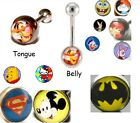 New Logo Belly or Tongue Bar Navel Piercing Stud Body Jewellery Picture Disney $3.76 USD on eBay