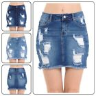 Wax Womans   Vintage Distressed Stretchy  Denim Short Skirts (S-3XL)