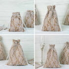 FAVOR BAGS Natural Brown Burlap Floral Lace with Pull String Drawstring Gift