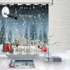 "72"" Merry Christmas Pine Snowflake Bathroom Waterproof Fabric Shower Curtain Set"