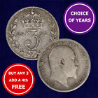 SILVER THREEPENCE (3d) COIN - 1902 - 1910 EDWARD VII - Choose Your Year