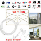 1byone Digital TV Antenna 200 Miles Range Signal Booster Amplifier VHF UHF