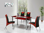 ROVIGO LARGE GLASS CHROME DINING ROOM TABLE AND 4 CHAIRS SET -135 cm- IJ614-818L