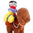 Fake Rider Cowboy Pets Dog Costumes Puppy Outdoor Funny Riding Vest Clothing USA