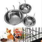 Pet Stainless Steel Bowl Hanger Feeding Bird Dog Food Water Cage Cup S-L