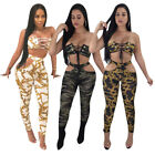 Women Sexy Crop strapless TOP eyelet bandage chest+slim leggings set S-2XL L5211