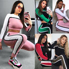 Women rib Crop TOP sweatshirt+ pencil pant color block printed one set S-2XL