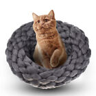 Cat Dog House Puppy Cave Pet Sleeping Bed Mat Pad Igloo Wool Hand Knitting Nest