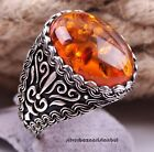 Turkish 925 Sterling Silver luxury orange amber stone Mens Man ring ALL SİZE us