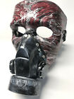 Halloween gas mask Hand painted resin finish leather strap Mardi Gras