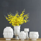 Modern White Ceramic Creative Human Face Flower Vase Art Flowers Pot Home Decor