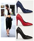 LADIES BLACK RED BLUE POINTED HIGH HEEL SMART WORK PARTY COURT SHOES PUMPS SIZE