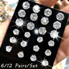 Gift Simple Stud Earrings Set  Silver Alloy Geometric Crystal Round Zircon