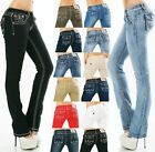 Damen Jeans Hose gerade Straight BootCut Flap Pocket dicke Nähte Stretch S-XXL