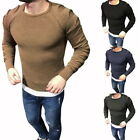 Autumn Mens Crew Neckers Riped Fishscale Long Sleeve Pullover Tops Sweater
