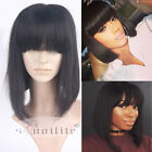 Brazilian Virgin Human Hair Full Wig with Bangs Short Bob Full Wigs Black Straig