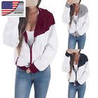Autumn Womens Baseball Jacket Casual Colorblock Hooded Windbreaker Zipper Coat