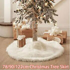 Внешний вид - 78/90/122CM White Christmas Tree Skirt Stand Long Plush For Party Home Decor New