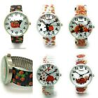 Ladies Novelty Pumpkin Halloween Floral Leaves Stretch Elastic Band Watch VS1 image