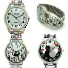 Ladies Novelty Dog Faces Cat Music Romantic Stretch Elastic Band Watch Versales image
