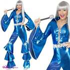 Womens 70s Blue Dancing Queen Jumpsuit Adult Disco Waterloo Fancy Dress