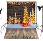 Rustic Wood Wall Wooden Floor Xmas Tree 10X10FT Vinyl Studio Backdrop Background