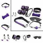 8pcs Kit Under Bed Restraint Set Collar Whip Hand Ankle Cuffs Purple Couples New
