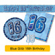 16th Birthday/Age 16 - BLUE PARTY ITEMS Decorations Tableware - Large Range