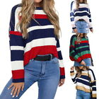Fashion Womens Crew Neck Long Sleeve Striped Twinsets Warm Knitted Pullover Tops