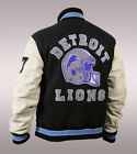 Men's Hill Cope Lion Detroit Wool and Faux Sleeves Helmet Rib Knit Gaming Jacket