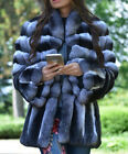 Elegant Design Women's Chinchilla Coat 100% Real Rex Rabbit Fur Jacket Overcoat for sale  Shipping to Canada