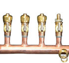 "1 1/2"" Copper Manifold 5/8"" Comp. Pex-AL-Pex (With & W/O Ball Valves) 2-12 Loop"