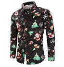AU Men's Christmas Xmas 3D Printing Long Sleeve Casual T-Shirt Tops Tee Shirts