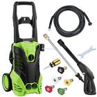 1.8 GPM Water Electric Pressure Washer Kit 3000 PSI Hose Nozzles Detergent Tank