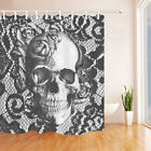Grey Skull and Flower Shower Curtain Bathroom Fabric Decor 180x210cm