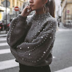 Women Casual Bead Long Sleeve O-neck Winter Sweater Loose Pearl Pullovers