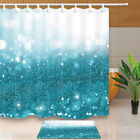 Shinning Points Teal Color Shower Curtains Bathroom Waterproof Mildew Resistance