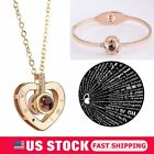 I LOVE YOU in 100 languages 925 Rose Gold Heart Pendant Necklace Bracelet Gifts