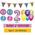 Happy 2nd Birthday AGE 2 Party Balloons Banners Decorations Badges Helium GIRL