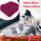 Handmade Chunky Knitted Blanket Thick Line Throw Soft & Warm Home Decor 2 Colors image