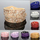 Multilayer Leather Wrap Wristband Cuff Punk Crystal Rhinestone Bracelet Bangle image