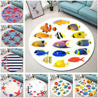 Soft Round Floor Mat Living Room Area Rugs Starfish Shell Fish Crab Fishing Bait
